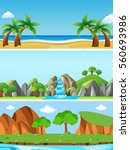 three nature scenes with... | Shutterstock .eps vector #560693986
