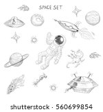 drawing of space objects  an... | Shutterstock . vector #560699854
