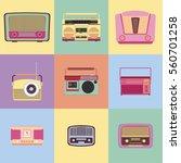 retro radio icon vector | Shutterstock .eps vector #560701258