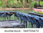 life jackets drying on the... | Shutterstock . vector #560703673
