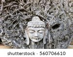 Face Of Buddha Carved From The...
