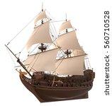 sailboat 3d illustration... | Shutterstock . vector #560710528