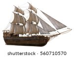 sailboat 3d illustration... | Shutterstock . vector #560710570