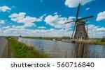 Dutch Windmill Canal In Vintag...