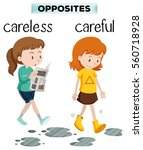 opposite words for carelss and... | Shutterstock .eps vector #560718928