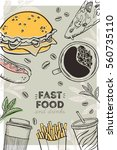 fast food menu. flyer. vector... | Shutterstock .eps vector #560735110