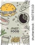 fast food menu. flyer. vector...   Shutterstock .eps vector #560735110