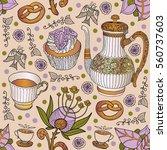 coffee. tea. seamless....   Shutterstock .eps vector #560737603
