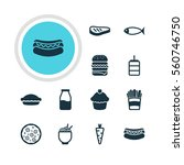 illustration of 12 eating icons.... | Shutterstock . vector #560746750