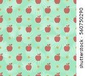 seamless red apple glitter... | Shutterstock .eps vector #560750290
