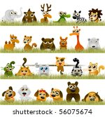 Stock vector cartoon animals big set 56075674