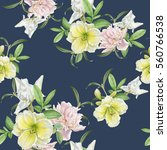 Stock photo floral seamless pattern with lily peony iris 560766538