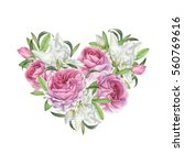 floral greeting card with heart ... | Shutterstock . vector #560769616