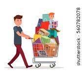 man with full shopping basket...   Shutterstock .eps vector #560782078