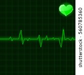green electrocardiogram. with... | Shutterstock .eps vector #560785360