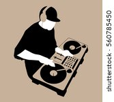 dj scratch mixing turntable | Shutterstock .eps vector #560785450