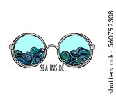 sea inside. sunglasses. waves.... | Shutterstock .eps vector #560792308