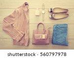 beautiful casual woman fashion... | Shutterstock . vector #560797978