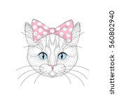 cute cat girl portrait with pin ... | Shutterstock .eps vector #560802940