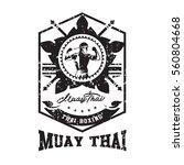 thai boxing club vintage emblem ...   Shutterstock .eps vector #560804668