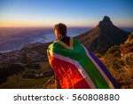 man holding a south african... | Shutterstock . vector #560808880