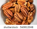 Pecan Nuts In White Bowl On...