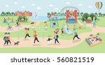 big vector map of park. cartoon ... | Shutterstock .eps vector #560821519