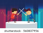 businessman fighting on stage... | Shutterstock .eps vector #560837956