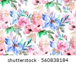 Stock photo watercolor seamless pattern floral print 560838184