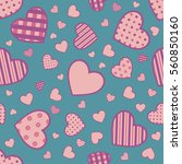 seamless valentine pattern with ... | Shutterstock .eps vector #560850160