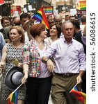 NEW YORK - JUNE 27: Kirsten Gillibrand, Cristine Quinn, Mayor Michael Bloomberg attend the 2010 New York City Gay Pride March on the streets of Manhattan on June 27, 2010 in New York City. - stock photo