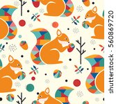 seamless pattern with squirrel... | Shutterstock .eps vector #560869720