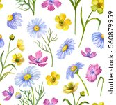 seamless pattern of watercolor... | Shutterstock . vector #560879959
