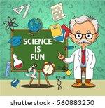 scientist and blackboard | Shutterstock .eps vector #560883250
