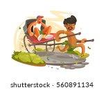 running man with rickshaw | Shutterstock .eps vector #560891134