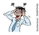 stressed man at work grabbed... | Shutterstock .eps vector #560895436