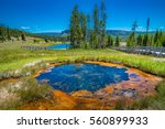 Yellowstone National Park - Gem pool and pinto spring in the cascade geyser group viewpoint, west gate , wyoming, USA