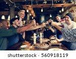 hands hold beverage beers... | Shutterstock . vector #560918119
