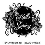 hello spring floral wreath | Shutterstock .eps vector #560949586