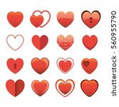 heart set vector icon isolated... | Shutterstock .eps vector #560955790