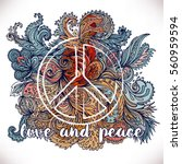 peace hippie symbol over... | Shutterstock .eps vector #560959594