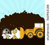 bulldozer rearranging garbage... | Shutterstock .eps vector #560963188