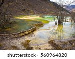 Small photo of Colorful stratum of carbonic acid rock, tufa water at Huanglong National Park, Sichuan, China