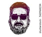 vector hipster man bearded face ... | Shutterstock .eps vector #560968234