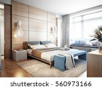 Stock photo bright and cozy modern bedroom with dressing room large window and broad window sill for read with 560973166