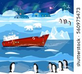 travel to antarctic and arctic. ... | Shutterstock .eps vector #560975473