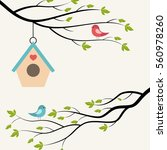birds on branch of tree and... | Shutterstock .eps vector #560978260