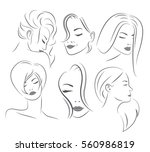 set of attractive female faces | Shutterstock .eps vector #560986819
