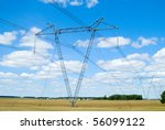 electric power station in the field over sky - stock photo