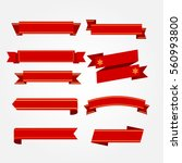 set of red ribbons on gray... | Shutterstock .eps vector #560993800